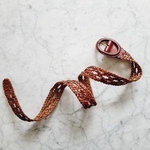 Vintage Woven Cognac Brown Genuine Leather Belt